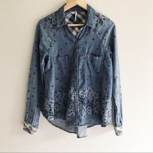 Free People Chambray Button up with flannel detail